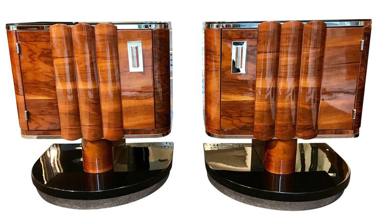 Pair Walnut and Metal Art Deco Night Tables