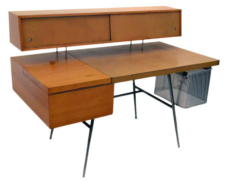 Mid Century George Nelson Wood and Leather Office Desk